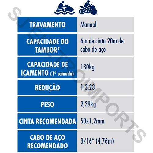 guincho manual catraca p/ carreta náutica jetski barco 400kg