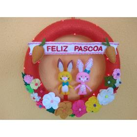 Guirlanda De Páscoa Coelhos E Flores Feltro Com Luzes De Led