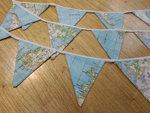 guirn017-1 - guirnalda de gabardina doble faz mapamundi