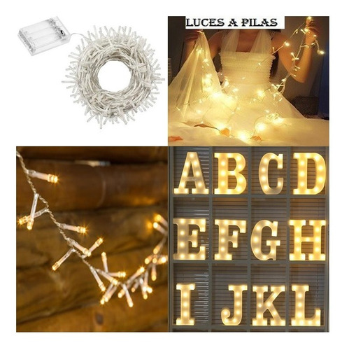 guirnalda 10 luces led 1.50 mts a pilas fija polyfan letras