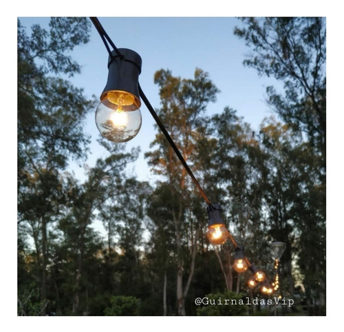guirnalda 10 mts luces kermesse exterior + lamparas 10c10c70