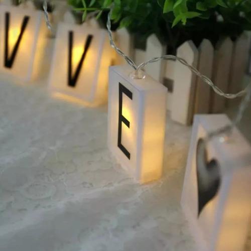 guirnalda 15 letras blanco calido 3 m led scrabble armar