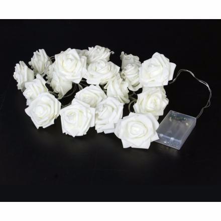 Guirnalda 20 luces led rosas blancas a pilas en - Guirnalda luces led ...