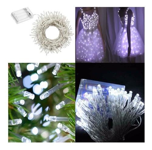 guirnalda 30 led luz blanco frio deco ropas letras 4.50 mts