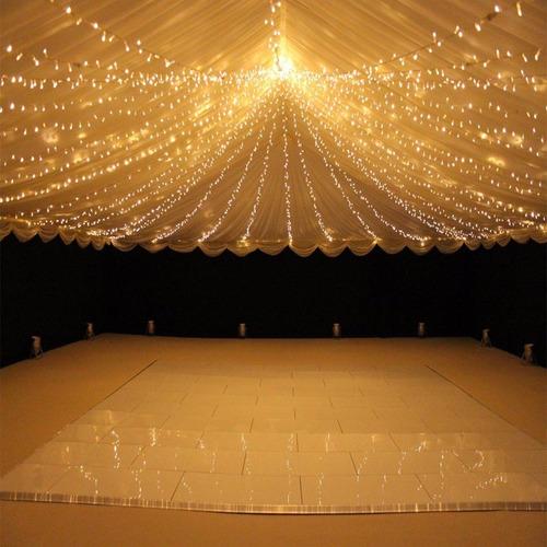 guirnalda 80 luces blancas calida  led 10mts a pila exterior