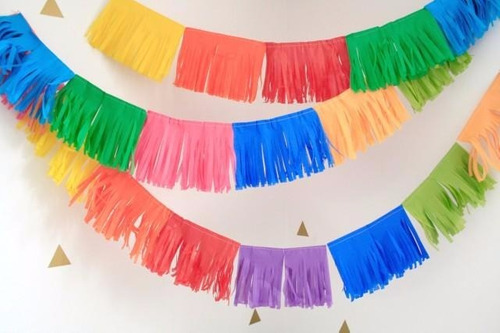 guirnalda borlas flecos papel de seda