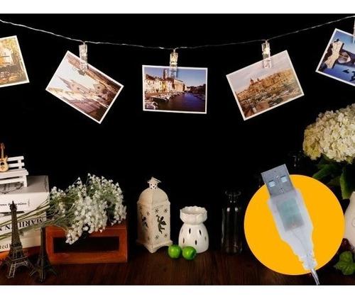 guirnalda broches led 2 metros fotos deco pila usb alambre