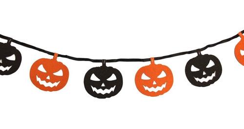 guirnalda calabazas halloween banderin  brillante 1.90metros