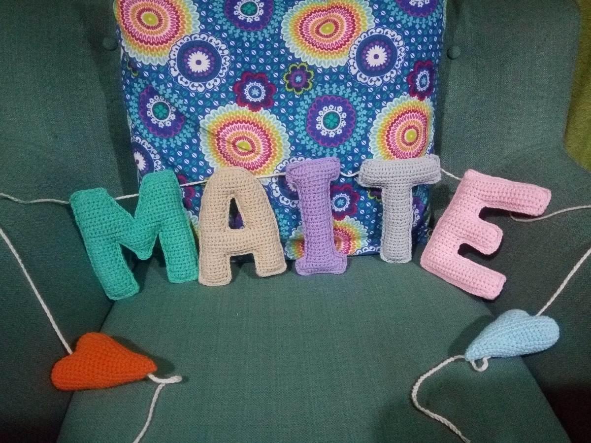 Guirnalda - Cartel Con Nombre Tejido A Crochet 5 Letras - $ 750,00 ...