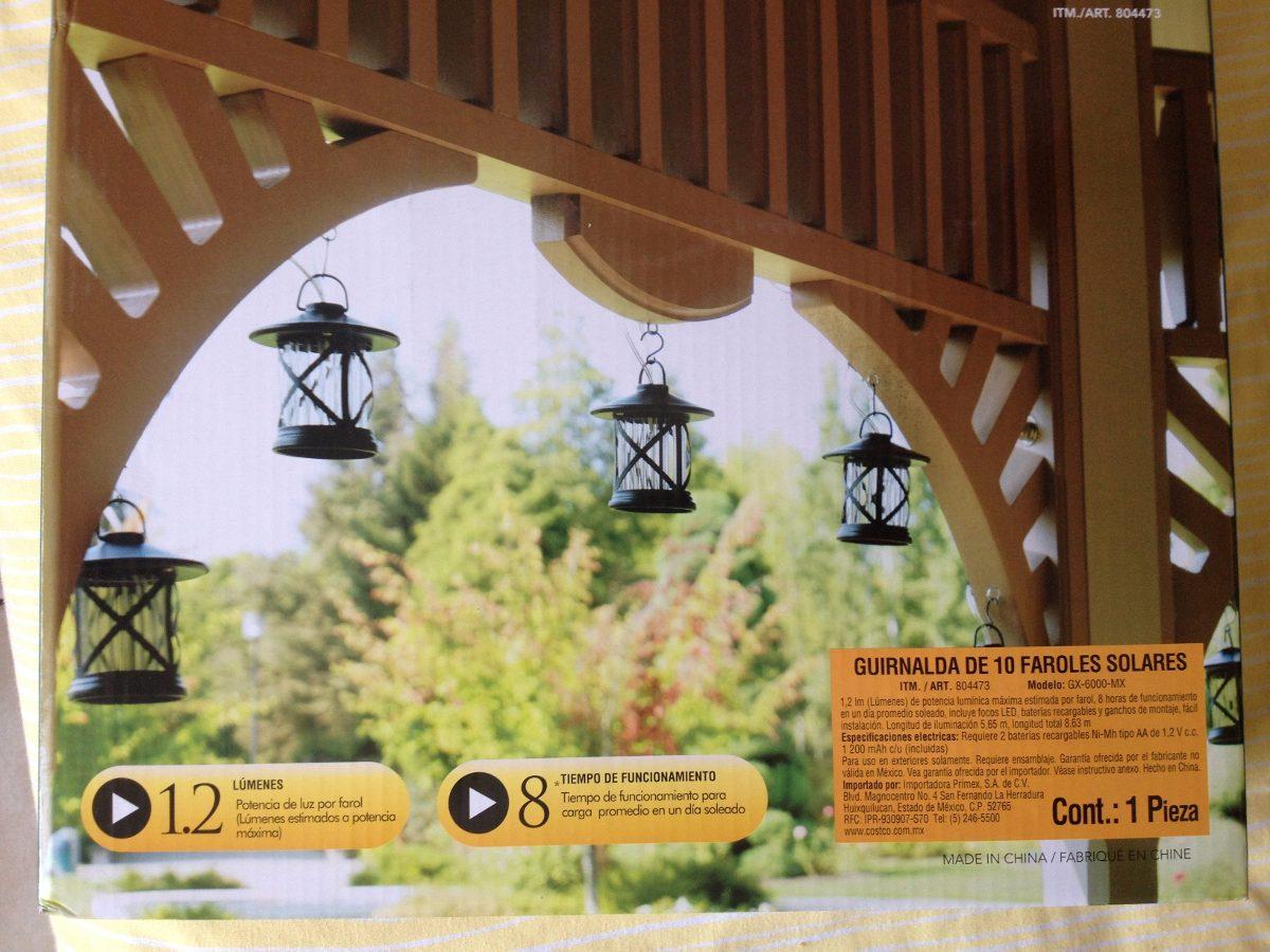 Guirnalda de 10 faroles solares en mercado libre for Faroles solares para jardin