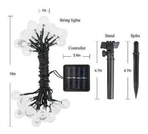 guirnalda de 30 luces led solares impermeables 6.5 m