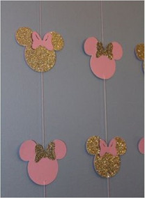 Guirnalda De Corazones Minnie Dorada Gold Cortina Decorada