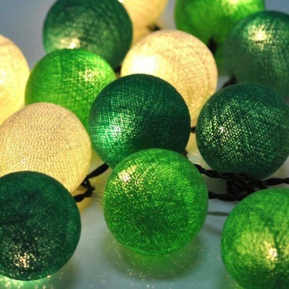 Guirnalda De Luces Tonos Verde Oscuro Verde Claro Y Beige - Tonos-verde