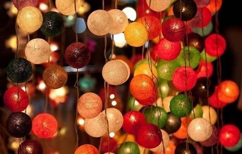 guirnalda esferas hilo guía x10 luces led tonos rosas grises
