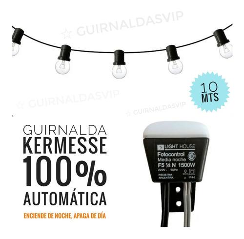 guirnalda exterior fotocelula solar automática 10 mt + luces