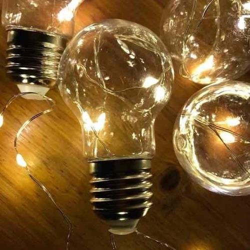 guirnalda lampara alambre solar 10 luces led calido 2mts