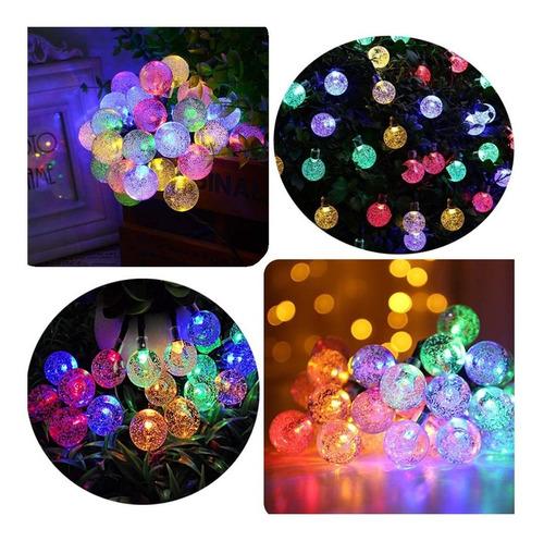 guirnalda led 20 bolitas cristal multicolor 3 mts a pilas
