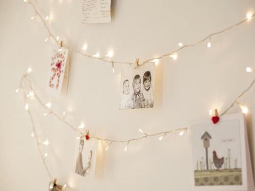 guirnalda luces bolita + 20 fotos - cuadro moderno deco