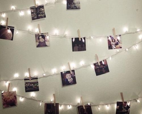 guirnalda luces bolita + 20 fotos cuadro moderno decorativo