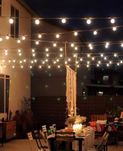 guirnalda luces exterior intemperie kermese feria  10m x 20