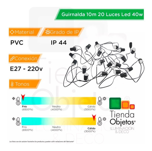 guirnalda luces exterior intemperie luces led 40w feria 10m