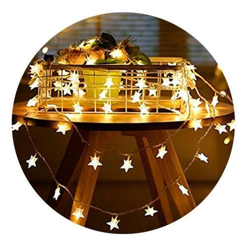 guirnalda luces led 10 estrellas pilas aa luz calida fiestas