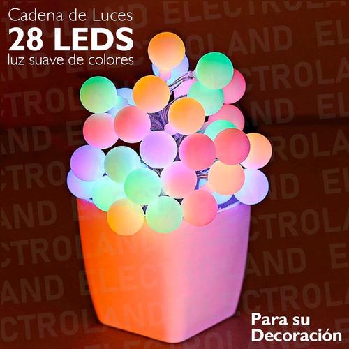 guirnalda luces led 28 lamparas 3 metros rgb muticolor