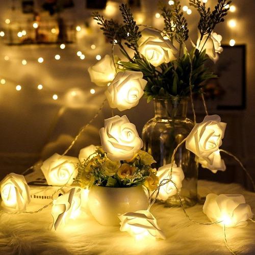 guirnalda luces led flores rosas 3 metros pilas luz calido