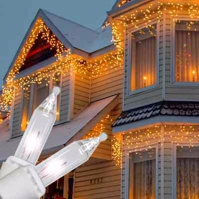 guirnalda luces navidad efecto fijo lluvia 100 blanco cálida