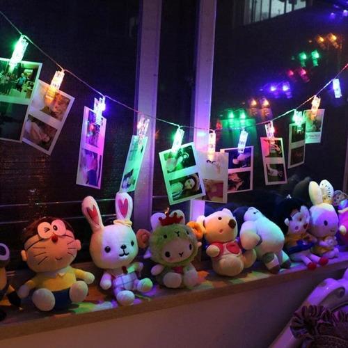 guirnalda luz led clips 10 fotos perritos 2 mts / lhua store