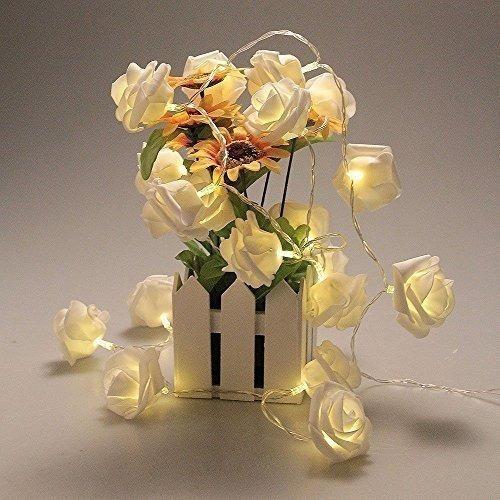 guirnalda luz led flores 28 rosas calidas 5 metros a pilas