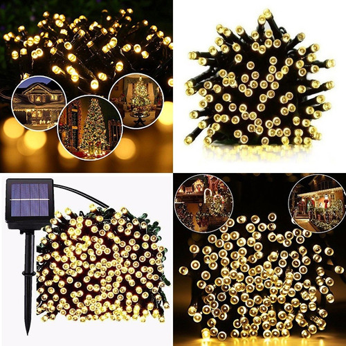 guirnalda luz solar lamparas led 100 luces 17 mts exterior