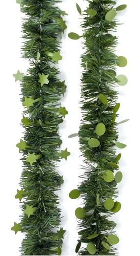 guirnalda navidad estrella punto verde pino 5 cm x 2 m #329