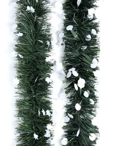 guirnalda navidad verde pino punta blanca 10 cm x 2 m #324