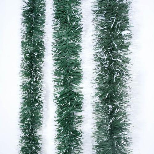 guirnalda navidad verde punta blanca 6 cm x 2 m #166