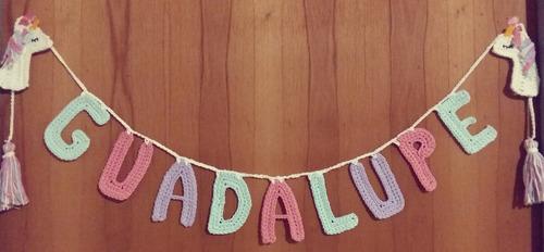 guirnalda nombre tejida a crochet 9 letras adorno unicornio