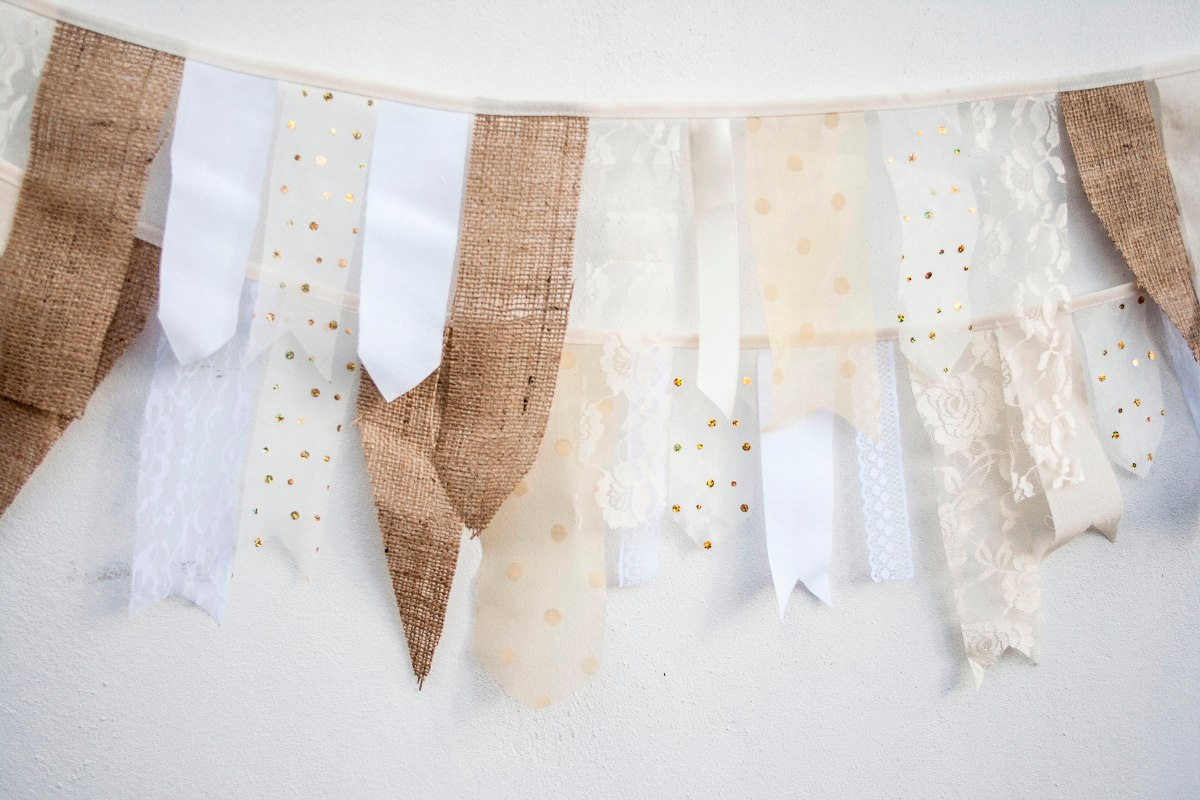guirnalda shabby tela cintas arpillera encaje banderines