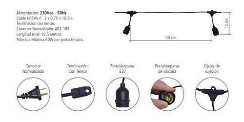 guirnalda tbcin ip65 10 metros ideal para exterior