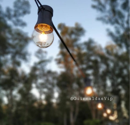 guirnaldas de luces para exterior x 10 metros + focos calido