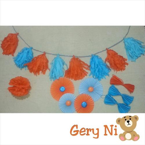 guirnaldas decoracion fiestas candybar pompones