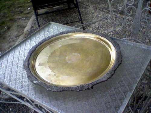 guisera con bandeja-cobre y bronce platinado-
