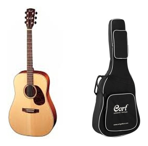 guitarra acustca cort earth 100 natural satinada con funda