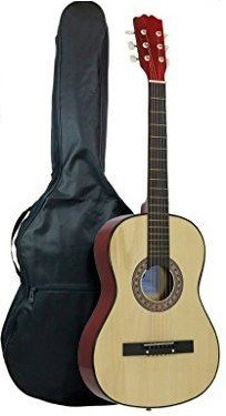guitarra acústica de 40 pulgadas cuerdas de metal  + estuche
