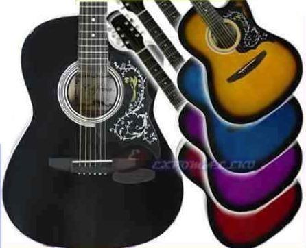 guitarra acústica importada, mastil reforzado y acccesorios