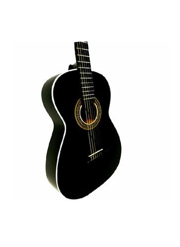 guitarra acústica negra 6 cuerdas