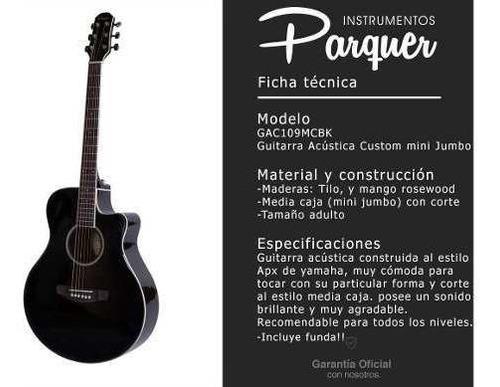 guitarra acustica parquer media caja corte tipo apx negra