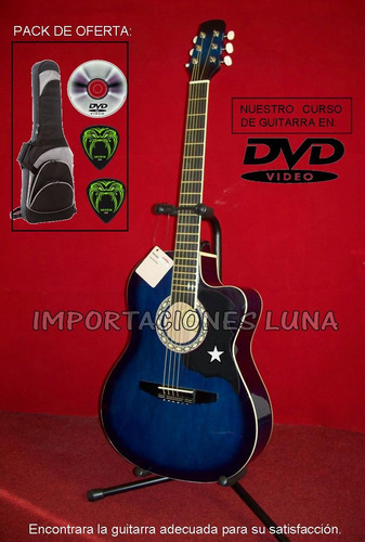 guitarra azul de buena acústica - importaciones luna