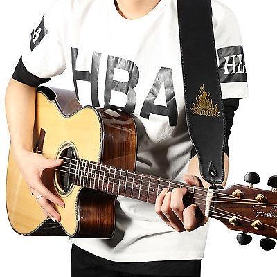 guitarra bajo pu suave ajustable correa de cuero grueso para