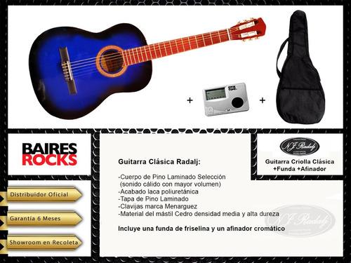 guitarra criolla clasica estudio colores + funda + afinador