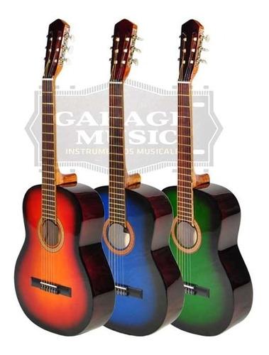 guitarra criolla clasica mediana 3/4 funda pua curso cd gtia